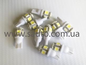 Светодиодная лампа для габаритных огней на 5 LED диодов, T10-5SMD