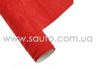 Бархат самоклеющаяся алькантара красная ширина 1,35м. Китай