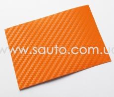 Виниловая пленка под карбон, оранжевого цвета самоклейка 1.52м.